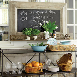 "Ballard Designs - Fleuriste Chalkboard Shelf - Great for displaying potted plants, office supplies or kitchen utensils. Iron shelf with rust finish. Weathered wood frame. Holds 4"" pots. On a buying trip to Paris, we passed a little florist shop that displayed its flowers on a pretty wrought iron cart with chalkboard above showing prices. We loved the look and created this framed chalkboard shelf to bring a little bit of Paris home. Fleuriste Chalkboard Shelf features: . . . ."
