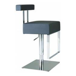 "Chintaly Imports - Adjustable Height Swivel Stool - Black - Features: Hydraulic Seat; Constructed for Home or Commercial Usage; Base and bucket fully welded; Some assembly may be required; Frame Finish: Brushed Stainless Steel and Chrome; Black PVC Seat; Seat Adjusts From 21-1/2"" - 29"" High; Dimensions: 15""W x 15""D x 39""H"