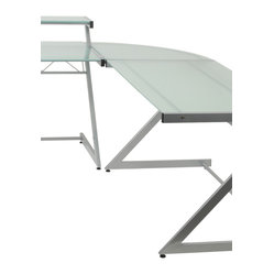 Z Deluxe Corner-Alum/Frosted - Aluminum powder, epoxy coated steel frameFrosted tempered glass shelf, 5mm thick