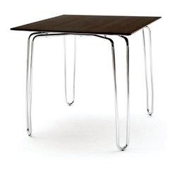 Kubikoff - Diamond Contract Table, Walnut Wood Top, Chrome Plated - Diamond Contract Table