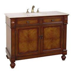 """Legion Furniture - 42 Inch Traditional Single Sink Bathroom Vanity - This 42 inch traditional single sink bathroom vanity is a perfect center piece for your bathroom project. This Antique Brown finish bathroom vanity features two doors, and an Ivory Cream marble counter top with white under mount sink that is pre-drilled for a standard 8 inch spread 3-hole faucet (faucet not included). Large opening in back for easy plumbing installation.  Dimensions: 42""""W X 21""""D X 35""""H (Tolerance: +/- 1/4""""); Counter Top: Ivory Cream Marble; Finish: Antique Brown; Features: 2 Doors; Hardware: Antique Brass; Sink(s): 15.5"""" X 12"""" Under Mount White Ceramic; Faucet: Pre-Drilled for Standard Three Hole 8"""" Center (Not Included); Assembly: Fully Assembled; Large cut out in back for plumbing; Included: Cabinet, Sink; Not Included: Faucet, Backsplash."""