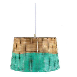 Aqua-Dipped Wicker Pendant - A homespun wicker basket gets a new life as a pendant lamp, with its aqua-dipped edge brightening it all up. Hang it in a bathroom for a chic, rustic touch.