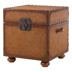 Lexington - Tommy Bahama Home Island Estate East Cove Trunk - The woven body is outlined with nail head trim on leather strapping, porter's handles and exaggerated hardware. But also intriguing is the lift lid access to legal/letter size files with removable storage tray.