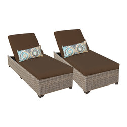 TKC - Hampton Chaise Set of 2 Outdoor Wicker Patio Furniture 2 for 1 Cover Set - Features: