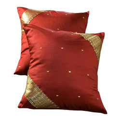 Indian Selections - Set of 2 Rust Decorative Handcrafted Sari Cushion Cover, 26x26 inches - 6 Sizes available