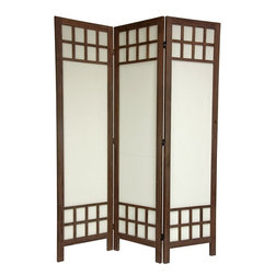 Oriental Unlimited - Traditional 6 ft. Tall Burnt Brown Wood Privacy Screen - 3 Panels (3 Panels / Bu - Color: 3 Panels / Burnt Brown. Extra strong floor screen, offering style elements of both Japanese shoji screens as well as traditional American style room dividers. Window pane lattice at the top & bottom of this screen are attractive and reinforce the structure of each panel. Cotton fabric shade is solid and durable, making this screen lighter than a solid wood panel design. Unique fusion of American & Japanese style elements. Top & bottom lattice reinforce the panel frames. Tear & puncture resistant cotton panel shades. Window pane lattice is on the front side only. 3-Panels. Shown in Burnt Brown. 17.25 in. W x 67 in. H (per panel)This is an extra strong floor screen, offering style elements of both Japanese shoji screens as well as traditional American style room dividers. The window pane lattice at the top & bottom of this screen are attractive, and reinforce the structure of each panel. Also, the cotton fabric shade is solid and durable, making this screen lighter than a solid wood panel design.