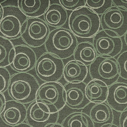 Green White Overlapping Circles Durable Upholstery Fabric By The Yard - P7935 is great for residential, commercial, automotive and hospitality applications. This contract grade fabric is Teflon coated for superior stain resistance, and is very easy to clean and maintain. This material is perfect for restaurants, offices, residential uses, and automotive upholstery.