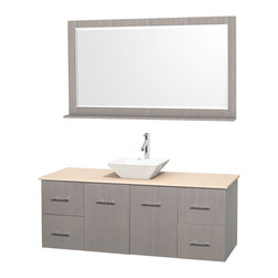 """Wyndham Collection - Centra Bathroom Vanity in Grey Oak,Marble Top,Pyra White Sink,58"""" Mir - Simplicity and elegance combine in the perfect lines of the Centra vanity by the Wyndham Collection. If cutting-edge contemporary design is your style then the Centra vanity is for you - modern, chic and built to last a lifetime. Available with green glass, pure white man-made stone, ivory marble or white carrera marble counters, with stunning vessel or undermount sink(s) and matching mirror(s). Featuring soft close door hinges, drawer glides, and meticulously finished with brushed chrome hardware. The attention to detail on this beautiful vanity is second to none."""