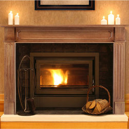 """50"""" Alamo Fireplace Mantel - Unfinished - This handcrafted, hardwood fireplace mantel is unfinished so you can make it as rustic or contemporary as you want. The mantel features fluted side panels and raised accents under a deep shelf where you can display photos and heirlooms."""