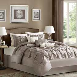 Madison Park - Madison Park Vivian Polyester Solid Tufted 7-piece Comforter Set - This beautifully tufted bedding set is from the Vivian bedding collection. Its neutral taupe or plum coloring makes this set easy to accessorize in your bedroom.