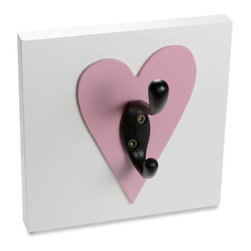 Homeworks Etc - Homeworks Etc Heart Single Wall Hook, dark pink - Decorative heart themed wall hook for the nursery and kids room.  Great for hanging towels, clothes, and more.