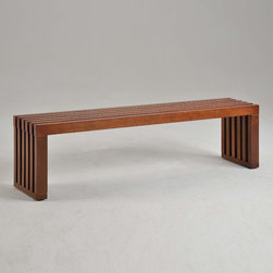 None - Walnut Finish 60-inch Slat Bench - This slat bench is perfect for additional seating or an added touch to your home decor. A lovely walnut finish completes this bench.