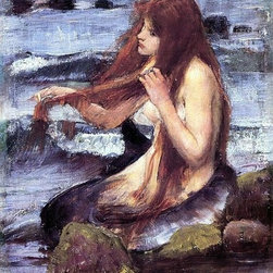 """John William Waterhouse A Sketch for 'A Mermaid'   Print - 16"""" x 24"""" John William Waterhouse A Sketch for 'A Mermaid' premium archival print reproduced to meet museum quality standards. Our museum quality archival prints are produced using high-precision print technology for a more accurate reproduction printed on high quality, heavyweight matte presentation paper with fade-resistant, archival inks. Our progressive business model allows us to offer works of art to you at the best wholesale pricing, significantly less than art gallery prices, affordable to all. This line of artwork is produced with extra white border space (if you choose to have it framed, for your framer to work with to frame properly or utilize a larger mat and/or frame).  We present a comprehensive collection of exceptional art reproductions byJohn William Waterhouse."""