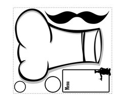 """RoomMates - Chef's Hat Dry Erase Peel & Stick Giant Wall Decals - Every master chef needs to plan out their next culinary masterpiece--and this handy message board will help you do just that! Make a grocery list, jot down ideas, or keep track of your next party with this fun set of dry erase wall decals. Each set includes two large dry erase decals: a chef's hat and a noteboard. We've also included two small circular decals that can be used as labels on containers, or to temporarily add dates to those leftovers in the fridge. Finally, we've thrown in an oversized mustache decal to complete the set. Since every element can be removed and repositioned countless times, you'll find endless uses for each of these decals. This design definitely puts the """"fun"""" into your functional kitchen!"""