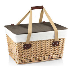 "Picnic time - Canasta Grande-Natural Flat Lid Basket Willow - The Canasta Grande is a flat-lidded empty picnic basket that is as versatile as it is charming. Its sturdy willow base has an attractive double-strand weave design, and its lid is made of a stained composite wood that can be used as a level surface to hold your drinks, plates or other items. The basket measures 18.9"" x 13.8"" x 11"" and is lined with a removable, form-fitted poly/cotton cover that folds over the rim and stays securely in place with two sets of tie straps. Two long cotton canvas straps can be secured together with a fastening handle for comfortable carrying. Discover the many ways you can enjoy the Canasta Grande Basket! Features:"