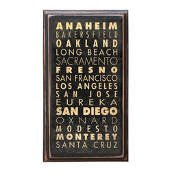 """CrestField - Cities of California Decorative Transit / Subway Scroll Vintage Style Wall Plaqu - This vintage style wall plaque is hand made to commemorate the beautiful and scenic cities of California. The pine board has a quarter round routed edge and is sized at 7.25"""" x 13"""" x .75"""". The surface is finished with my """"flatter than satin"""" poly finish with a saw tooth hanger on the back. Would look great in any decoration project, home or office."""