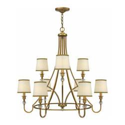 Antique Copper And Fabric Shades chandelier in Baked Finish - http://www.phxlightingshop.com/index.php?main_page=advanced_search_result&search_in_description=1&keyword=10424