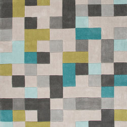 Jaipur Rugs - Hand-Tufted Durable Polyester Gray/Blue Area Rug (5 x 7.6) - Style and value strike a perfect balance in Fusion, one of Jaipur's popular collections of contemporary hand-tufted rugs. This spirited series is guaranteed to make a statement in any room, with unexpected color combinations and attention-grabbing patterns. The Fusion Collection proves that fashion-forward doesn't have to carry an expensive price tag.
