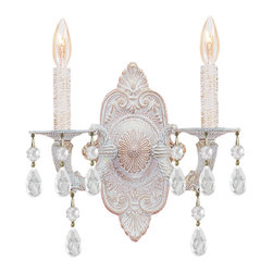 Crystorama - Crystorama 5200-AW-CLEAR Sutton 2 Light Wall Sconces in Antique White - Sutton Collection's Antique White finish has a distressed gold brush strokes. This Paris Flea look is timeless and whimsical.