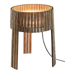 """Arturo Alvarez - Arturo Alvarez Shio table lamp - The Shio table lamp from Arturo Alvarez was designed by Arturo Alvarez and made in Spain. The Shio table lamp is a universal shape, friendly, combined with the beauty of a new use given to laminated board, with its grain in full view and accent colors on the side, allowing light to filter through the spaces between.   Products description: The Shio table lamp from Arturo Alvarez was designed by Arturo Alvarez and made in Spain. The Shio table lamp is a universal shape, friendly, combined with the beauty of a new use given to laminated board, with its grain in full view and accent colors on the side, allowing light to filter through the spaces between. Details:                         Manufacturer:                         Arturo Alvarez                                         Designer:                         Arturo Alvarez - 2010                                         Made  in:            Spain                            Dimensions:                         Height: 15.5"""" (39.4cm) X Width: 13.5"""" (34.3cm)                                                     Light bulb:                                      1 X 22W T52GX13 Fluorescent                                         Material                         Plywood"""