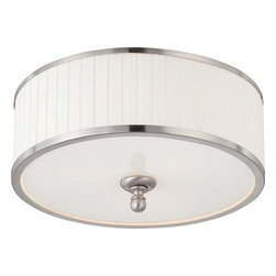 Nuvo Lighting - Nuvo Lighting 60-4741 Candice 3-Light Flush Dome Fixture with Pleated White Shad - Nuvo Lighting 60-4741 Candice 3-Light Flush Dome Fixture with Pleated White Shade