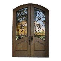 "WR-02, Toast - This Mediterranean style double door unit is constructed in solid sipo, sepeli or honduras mahogany. The standard glass insert is double pane low-e insulated glass. The door advertised on this website is for 2-36"" x 96"" x 1 3/4"" (6'.0"" x 8'.0"") prehung with 4 9/16"" mahogany jamb, oil rubbed bronze hinges, adjustable threshold, q-lon weatherstrip, clear double pane insulated glass and wrought iron inserts."