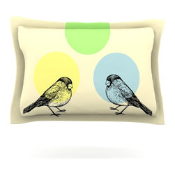 "Kess InHouse - Sreetama Ray ""Green"" Paper Birds Pillow Sham (Cotton, 40"" x 20"") - Pairing your already chic duvet cover with playful pillow shams is the perfect way to tie your bedroom together. There are endless possibilities to feed your artistic palette with these imaginative pillow shams. It will looks so elegant you won't want ruin the masterpiece you have created when you go to bed. Not only are these pillow shams nice to look at they are also made from a high quality cotton blend. They are so soft that they will elevate your sleep up to level that is beyond Cloud 9. We always print our goods with the highest quality printing process in order to maintain the integrity of the art that you are adeptly displaying. This means that you won't have to worry about your art fading or your sham loosing it's freshness."