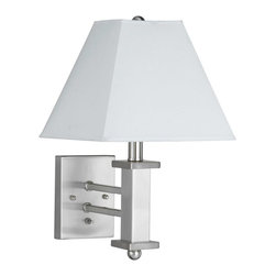 """Cal Lighting - Contemporary Brushed Steel Squared Hardback Shade Plug In Wall Lamp - Squared and linear elements are used for a clean sleek look. The crisp fabric shade looks great against the steel surface. It comes with a cord that plugs into any standard wall outlet. Brushed steel finish. Plug in style. White hardback fabric square shade. Push button switch. Takes one 60 watt bulb (not included). 17"""" high. Base is 6"""" wide 4 1/2"""" high.  Brushed steel finish.  Plug in style.  Design by Cal Lighting.  White hardback fabric square shade.  Push button switch.  Takes one 60 watt bulb (not included).  17"""" high.  Base is 6"""" wide 4 1/2"""" high."""
