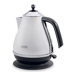 DeLonghi - Icona Kettle - The DeLonghi KBO1401W Icona Electric Kettle, in white, has a unique high-gloss finish with chrome detailing. The kettle easily detaches from the 360-degree swivel base for convenient, cord-free pouring. It has a removable lid for quick and easy filling and a conveniently located water-level indicator for easy viewing. It even has a removable, washable anti-scale filter. Plus, the 3-level safety protection includes auto shutoff when the water boils, thermal cutoff, and auto shutoff when the kettle is removed from base.57.5-ounce capacity electric kettle|Unique high-gloss finish with chrome detailing|Kettle easily detaches from the 360-degree swivel base for cord-free pouring|Removable lid for quick and easy filling|Conveniently located water-level indicator for easy viewing|Removable, washable anti-scale filter|Flat stainless steel concealed-element in non-slip base|3-level safety protection|Cord storage|Color: White|  kbo1401| kbo1401w| delonghi| icona| collection| electric| kettle| with| detachable| base| for| cord-free| cordless| pouring| convenience| white  Package Contents: base|kettle|anti-scale filter|manual|warranty  This item cannot be shipped to APO/FPO addresses