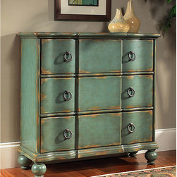 None - Hand-painted Distressed Blue/Green Accent Chest - Hand-painted chest features a blue/green distressed finish Living room furniture is constructed of hardwood and MDF Accent chest has antique brass finish hardware