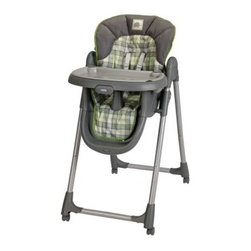 Graco Meal Time Highchair - Roman - Before the airplane can come into the hangar, your little pilot needs just the right seat, and the Graco Meal Time Highchair - Roman has been given the green light for a landing. The lightweight aluminum frame gives your child a seat with four adjustable heights and three reclining levels so they can get the perfect position to keep them happy and comfortable while you try to introduce them to the magical world of vegetables. And when that experiment doesn't quite pan out the first time, the removable tray is dishwasher-safe, and the removable cover can be tossed in the wash. Locking casters give you mobility when you need to move and stability when you don't, and the 3- and 5-point harness will keep your little one secure from soup to nuts. Or pureed plums.Additional FeaturesLightweight aluminum frameFolds easily for storage when not in useRecommended weight limit of 40 lbsAbout GracoWhen Russell Gray and Robert Cone joined forces in 1942, baby products were not their focus. The pair originally formed Graco Metal Products in Philadelphia, Penn. The firm created machine and car parts for local manufacturers for 11 years. Gray left in 1953, leaving Cone as sole owner, and Cone got the idea to manufacture baby products from a Graco employee, David Saint, father of 9. Inspired by the idea of Mrs. Saint soothing her babies on the backyard glider, the Graco Swyngomatic was born. The Swyngomatic sold millions, catapulting Graco to become a leader in manufacturing juvenile products in the process. Since then, Graco has set the industry standard with products like the Pack N' Play and the Travel System. Graco is one of the world's best known and most trusted juvenile products companies. Product safety, quality, reliability, and convenience are their main sources of pride, and are recognized by parents and parenting authorities alike.