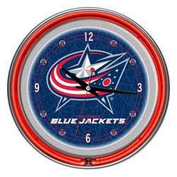 Trademark Global - Trademark Global 14 in. Columbus Blue Jackets NHL Neon Wall Clock NHL1400-CBJ - Shop for Wall Decor at The Home Depot. This retro neon clock comes with two neon rings a bright white neon on the inside to light up the exclusive graphic and a vibrant neon ring on the outside. The high gloss chrome molded clock case adds to the brilliant shine of the neon. Make a spectacular addition to your kitchen, den or game room with this amazing clock.