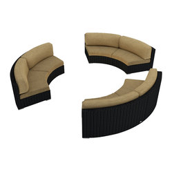 Urbana Eclipse 3-Piece Round Sectional Set, Beige Cushions