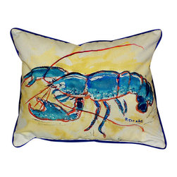 Betsy Drake - Betsy Drake Blue Lobster Pillow- Indoor/Outdoor - Blue Lobster Pillow- Large indoor/outdoor pillow. These versatile pillows are equal at enhancing your homes seaside decor and adding coastal charm to an outdoor setting arrangment. They feature printed outdoor, fade resistant fabric for years of wear and enjoyment. Solid back, polyfill. Proudly made in the USA.