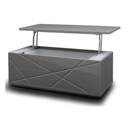 Modern gray lacquer convertible coffee table with storage Kaga - Kaga is a modern and functional coffee table. It has a lift top and a spacious storage in the basement. The top can be pulled up easily and used as a convenient tray. The Kaga coffee table is finished in a glossy gray lacquer and has a textured base.