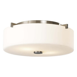 Murray Feiss - Murray Feiss Sunset Drive Transitional Flush Mount Ceiling Light X-SB313MF - This Murray Feiss flush mount ceiling light features clean, contemporary curvature and light finishes for a sophisticated look. From the Sunset Drive Collection, the clean tones of the white opal etched glass shade are complimented by the contrasting look of the Brushed Steel finish.