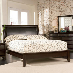 Coaster - Phoenix California King Bed - The Phoenix Collection is crafted from solid hardwood with Maple veneers. It is finished in rich deep cappuccino. All drawers have beveled wood fronts and are accented with brushed nickle hardware.