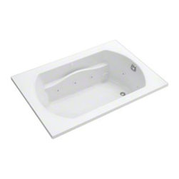 Sterling - Sterling Lawson 76281110-H 60 in. x 42 in. Whirlpool Bathtub with Heat - 7628111 - Shop for Jetted/Whirlpool from Hayneedle.com! The therapeutic Sterling Lawson 76281110-H 60 in. x 42 in. Whirlpool Bathtub with Heat is going to elevate your bathroom to the height of luxury! This unit utilizes 6 adjustable jets and a built-in heater to give you the full spa experience. The design of this piece provides a clean look with a contemporary feel that will enhance the decor of your home bathroom. One of its most luxurious features is its carefully contoured backrest with lumbar support. Capable of holding up to 68 gallons of water this relaxing tub is ideal for the individual who enjoys a nice long soak after a hard day's work! As for the construction of this bathtub Sterling has a reputation for quality craftsmanship and like all of their other bath products; this unit is made from solid Vikrell. The compression-molded Vikrell is a Sterling exclusive that provides strength durability and a lasting beauty that you can customize with your own choice of finish. Kohler almond Kohler biscuit and pure white are all available with a coating of high-gloss that creates a smooth shiny surface which looks marvelous and is incredibly easy to clean. This CSA-certified bathtub measures 60W x 42D x 20H inches and fits nicely into any standard opening making it especially convenient for retrofit as well as new build settings. Receptor only; end walls and back walls can be ordered separately. Available in your choice of left- or right-hand drainage.About SterlingEstablished in 1907 and quickly recognized as a leading manufacturer of faucets and brassware Sterling has been known for their diversity of products and industry-leading designs for over a century. In 1984 Sterling was acquired by Kohler Co. to create a mid-priced full-line plumbing brand and allow Kohler the opportunity to sell their products in retail stores. Over the years Kohler quickly began acquiring other compani