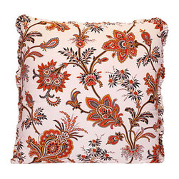 French Indienne Floral Print Pillow - This floral print, known as French Indienne, adds an unexpected touch to your favorite setting. Percale on the front, hemp summer cloth on the back and an ample ruffle all around, it creates a vibe both exotic and refined.