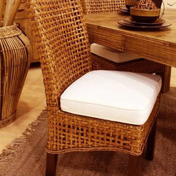 Hospitality Rattan - Pegasus Indoor Rattan & Wicker Side Chair in - Fabric: Banana Bay ChiliThis product is warranted for indoor use. Made of Rattan Poles & Woven Wicker. Traditional Indoor Wicker & Rattan Side chair. Includes cushion as shown in beige fabric. Fully assembled. Cushion as shown Beige color. Pictured in Natural. 18 in. L x 41 in. W x 21 in. H (15 lbs.)This Handmade Pegasus collection is woven over in a spaced lattice pattern and has strong wood legs. In addition your choice of over 45 fabrics are available. The Pegasus is a very sleek and contemporary rattan and woven wicker collection.