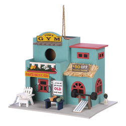 "KOOLEKOO - Workout Gym Birdhouse - Whimsical gym birdhouse is the perfect shelter for buffed-out ""birdy-builders!"" Delightfully styled just like a full-size workout palace, including dumbbells, signs and even a tiny towel."