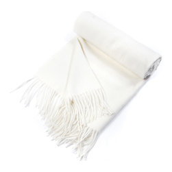"""Kuna - Jet Eco Throw, White - Classic  baby alpaca Throw with a sophisticated color pattern and fringes. All natural, undyed Alpaca fibers.  63"""" long x 51"""" wide and 23 ounces."""