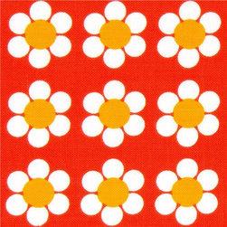orange Robert Kaufman fabric with white flowers - Daisies Fabric