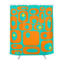 Crash Pad Designs - Mid Century Modern Shower Curtain - Milo - Give your bathroom decor a fresh look with this pleasingly retro-inspired shower curtain. The playful mod pattern will really pop against the 100 perfect polyester it is printed on. This curtain features 12-stitched button holes for hanging, and will set the tone for your whole bathroom.
