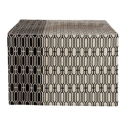 Table Runner - Black and Natural Woven Cotton - Black and natural woven cotton runner.