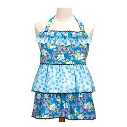 "Kids' Mommy & Me Blue Apron - Do you have a little girl that loves to ""help"" in the kitchen? This cute floral print apron comes in adult and child sizes, so you can coordinate with your little chef."