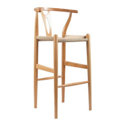 """Mid-Century Modern Wishbone Stool - Natural Wood Y Stool - This mid-century bar chair features traditional wood construction paired with a modern form, resulting in a unique piece for your home. The frame consists of unfinished solid wood with a curved backrest and a sturdy, taut unfinished natural hemp cord seat. This item will arrive fully assembled and is also available in dark brown, green, black, or white and as a dining chair in natural, dark brown, pink, green, black, or white (each sold separately). This is a quality reproduction ofeethe Hans Wegner Wishbone Chair, which is also known as the Wegner Y Chair, Carl Hansen Wishbone Chair, CH24 Wishbone Chair, and the Wegner CH24.  Seat dimension: 28.5"""" H x 17"""" W x 15"""" DDimensions: 40.75"""" H x 19.5"""" W x 18"""" D"""