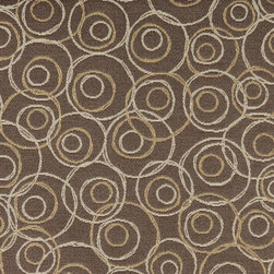 Brown Gold Silver Overlapping Circles Durable Upholstery Fabric By The Yard - P7835 is great for residential, commercial, automotive and hospitality applications. This contract grade fabric is Teflon coated for superior stain resistance, and is very easy to clean and maintain. This material is perfect for restaurants, offices, residential uses, and automotive upholstery.