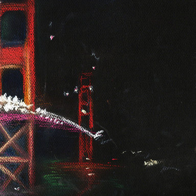 """Ann Rea - Bring home San Francisco with """"Golden Towers"""" by Ann Rea, an original pastel - """"Two golden towers frame the entrance to the deep Pacific through the fog of night."""" -Ann Rea"""