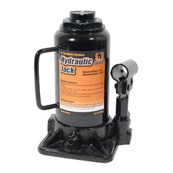 Buffalo Tools - Black Bull 12 Ton Hydraulic Bottle Jack - With a 12 Ton lifting capacity, this Bottle Jack can lift loads weighting up to 24,000 lbs. Change the tires on cars, trucks, and trailers or make repairs to your tractor, combine or hay baler. Small, portable and reliable, this is a great jack to keep nearby for emergency repairs. A cast iron base bears the load and a cleated non-slip lift cap keeps it stable. The hydraulic bypass prevents ram over travel and prevents damage to the Jack. The pump cartridge is replaceable, so you don't have to replace the entire jack when the hydraulic has been exhausted. With a lift range of 8.5 to 13.75 inches (with the screw lift fully extended), the Black Bull Bottle Jack can get the heaviest of loads into the air and out of the way so you can make the repair and move on to other projects. Easily lift heavy loads weighting up to 24,000 lbs, reliable and portable design Great for use on the shop, farm, or job site Cleated non-slip lift cap, adjustable extension screw cap, replaceable pump cartridge Solid cast iron base for maximum stability, base dimensions: 5 1/4 incheve to bend over and search for it under the table.